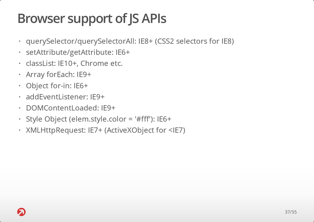 Browser support of JS APIs querySelector/queryS...