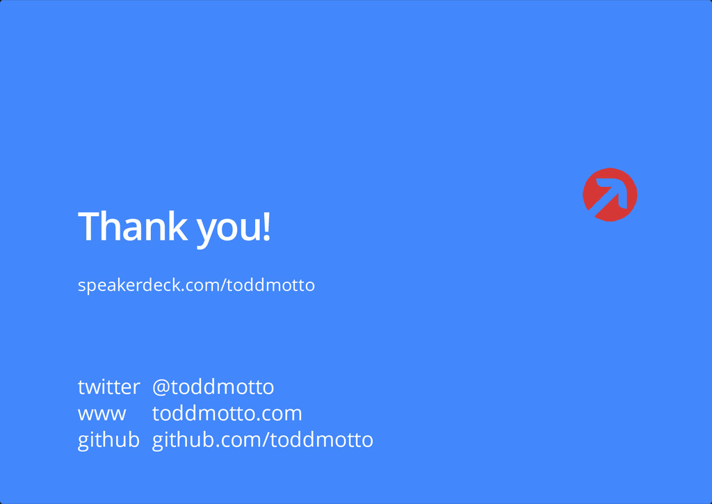 Thank you! speakerdeck.com/toddmotto twitter @t...