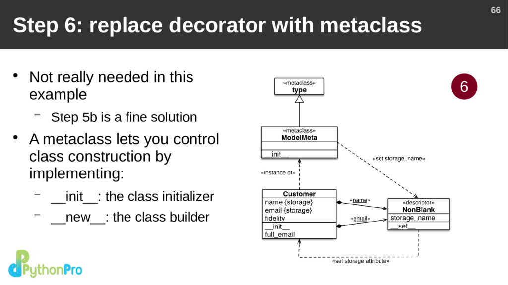 66 Step 6: replace decorator with metaclass ● N...