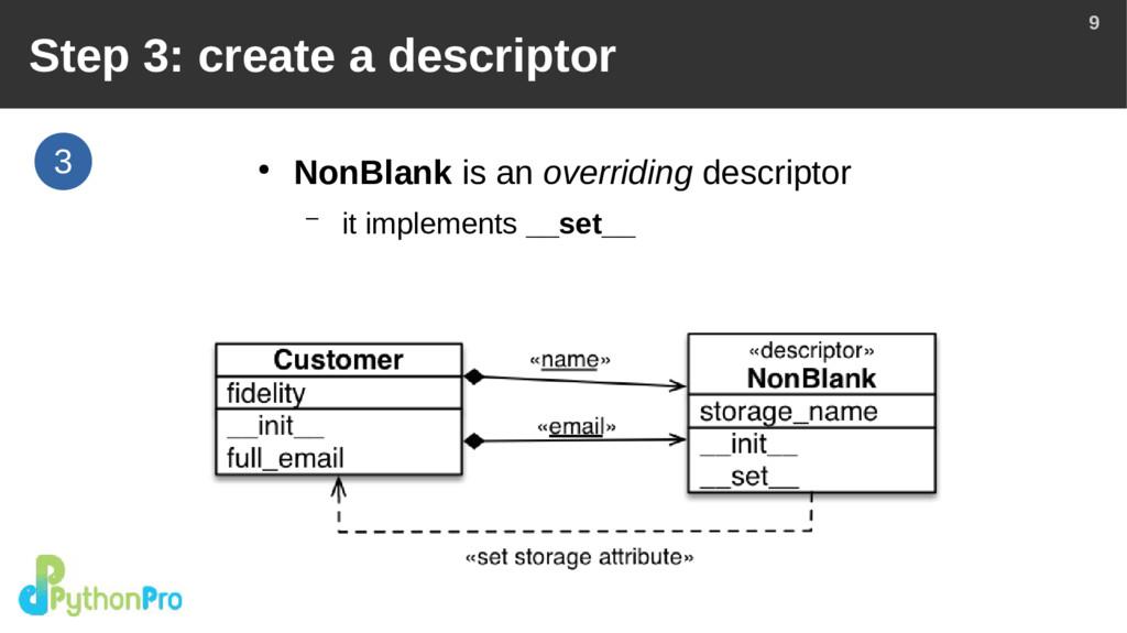 9 3 Step 3: create a descriptor ● NonBlank is a...
