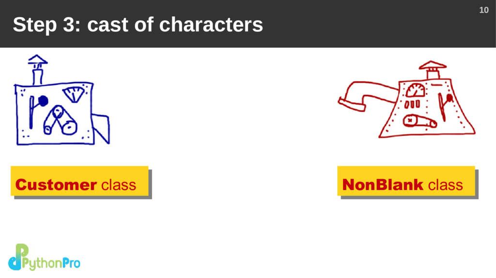 10 Step 3: cast of characters Customer class No...