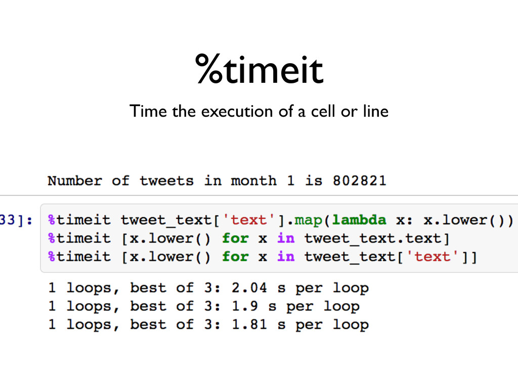 %timeit Time the execution of a cell or line