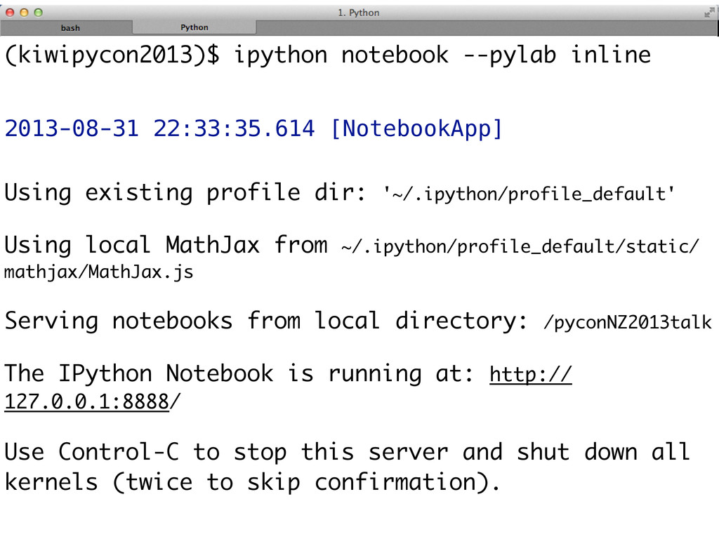 (kiwipycon2013)$ ipython notebook --pylab inlin...