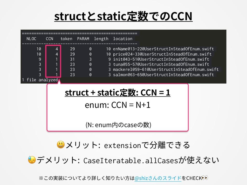 structとstatic定数でのCCN メリット: extensionで分離できる デメリッ...