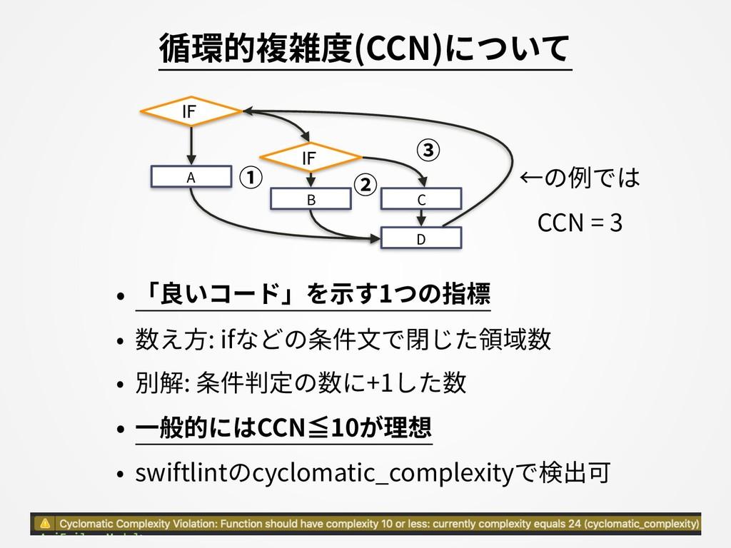 循環的複雑度(CCN)について • 「良いコード」を⽰す1つの指標 • 数え⽅: ifなどの条...