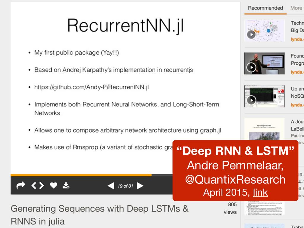 """Deep RNN & LSTM"" Andre Pemmelaar, @QuantixRese..."