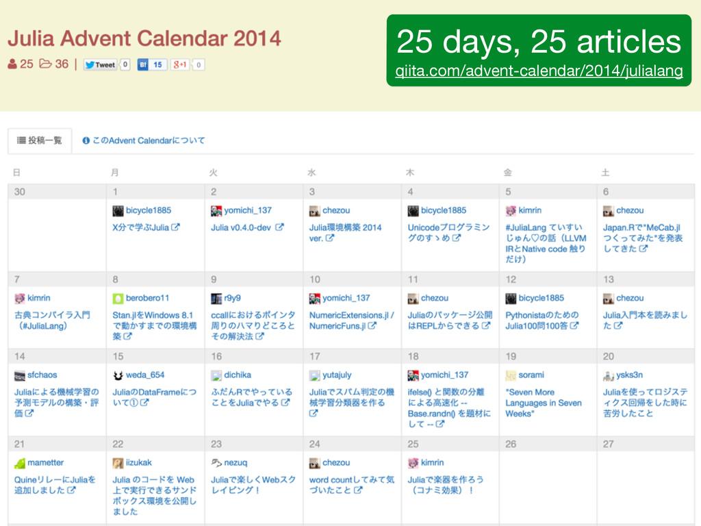 25 days, 25 articles  qiita.com/advent-calendar...