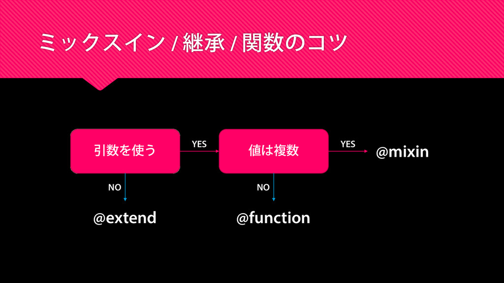 ミックスイン / 継承 / 関数のコツ 引数を使う 値は複数 @extend @functio...