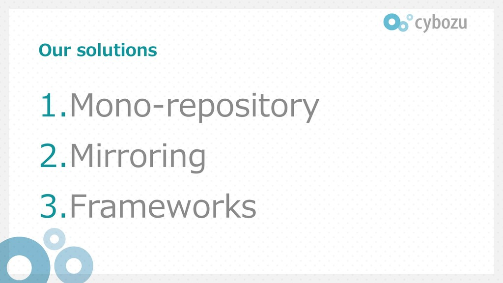 Our solutions 1.Mono-repository 2.Mirroring 3.F...