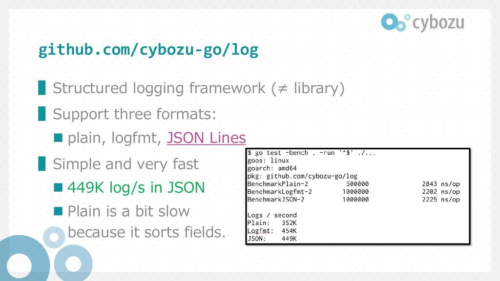 github.com/cybozu-go/log ▌Structured logging fr...