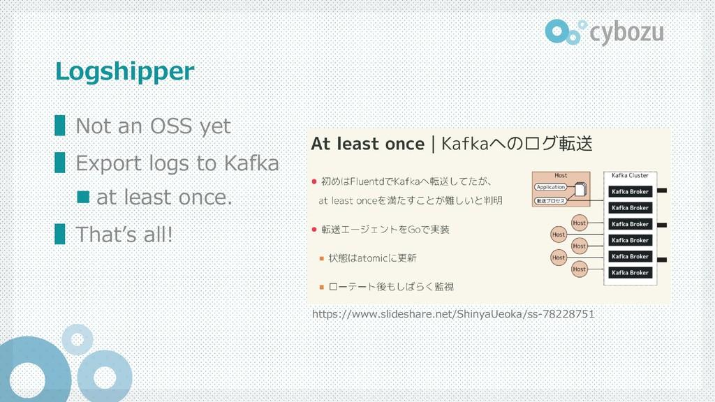 Logshipper ▌Not an OSS yet ▌Export logs to Kafk...