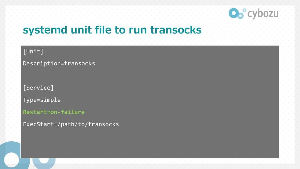 systemd unit file to run transocks [Unit] Descr...
