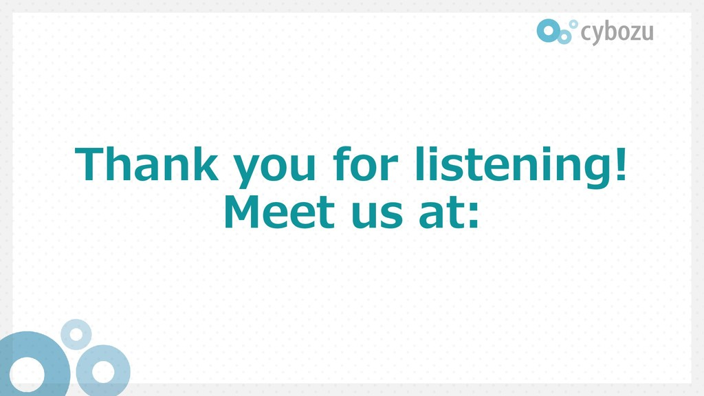 Thank you for listening! Meet us at: