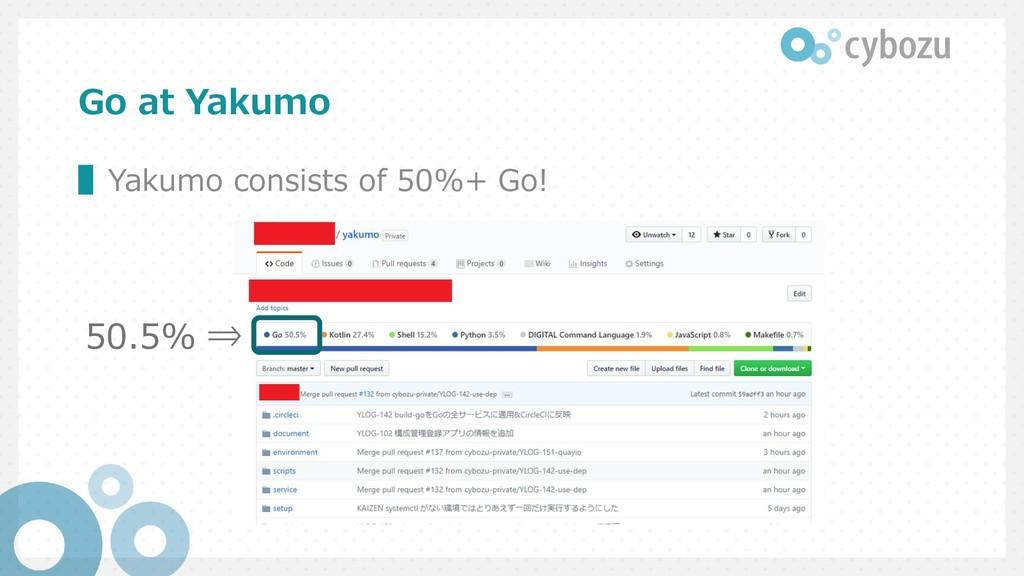 Go at Yakumo ▌Yakumo consists of 50%+ Go! 50.5%...