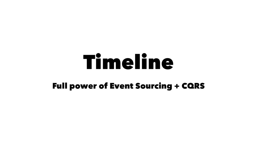 Timeline Full power of Event Sourcing + CQRS