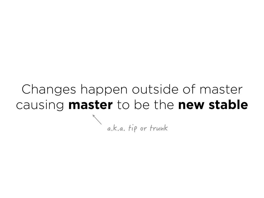 Changes happen outside of master causing maste...