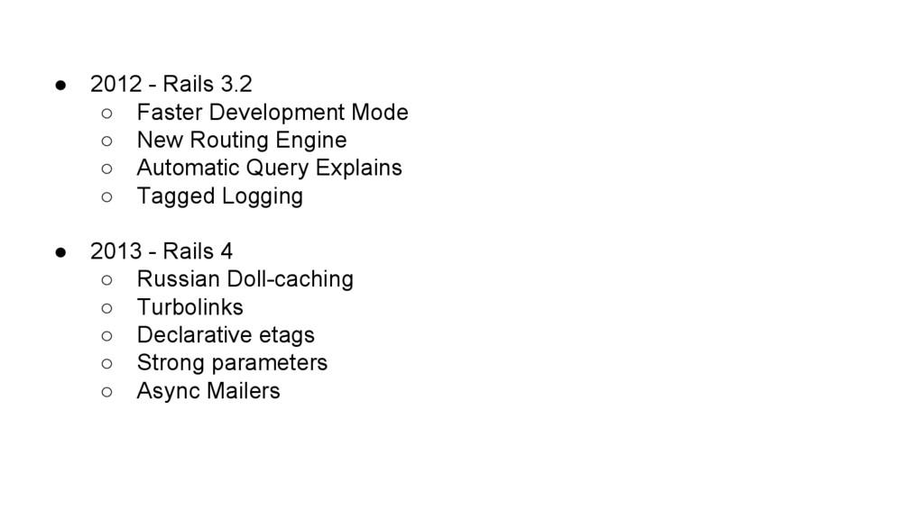 ● 2012 - Rails 3.2 ○ Faster Development Mode ○ ...