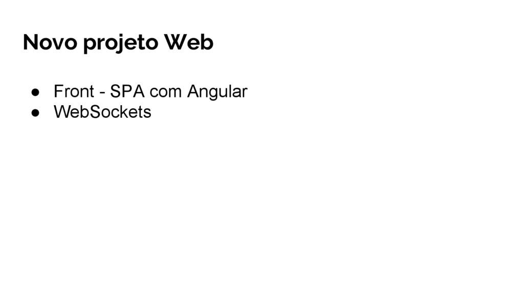 ● Front - SPA com Angular ● WebSockets Novo pro...