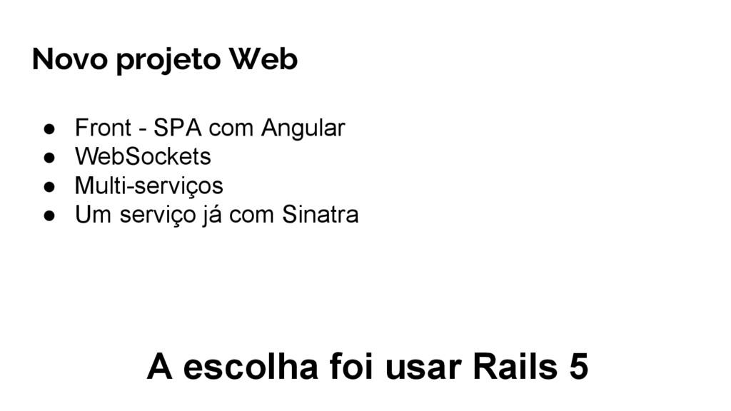 ● Front - SPA com Angular ● WebSockets ● Multi-...