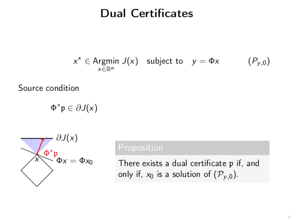 7 Dual Certificates x ∈ Argmin x∈Rn J(x) subject...