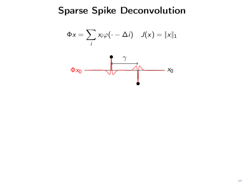 10 Sparse Spike Deconvolution Φx = i xi ϕ(· − ∆...
