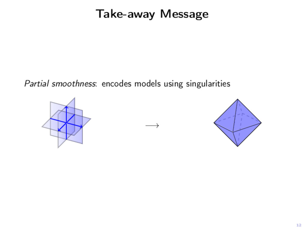 12 Take-away Message Partial smoothness: encode...