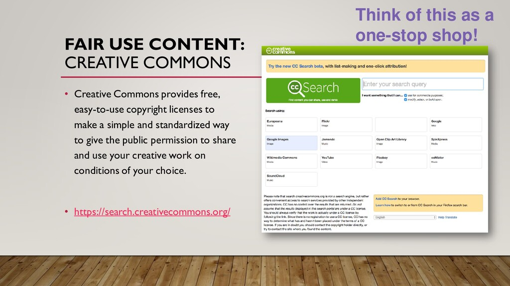 FAIR USE CONTENT: CREATIVE COMMONS • Creative C...