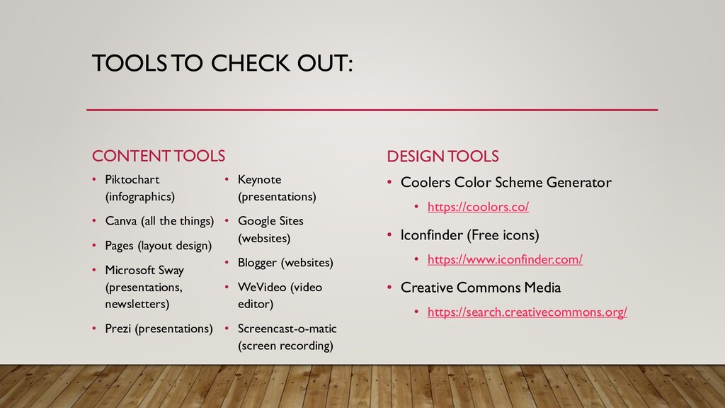 TOOLS TO CHECK OUT: CONTENT TOOLS • Piktochart ...