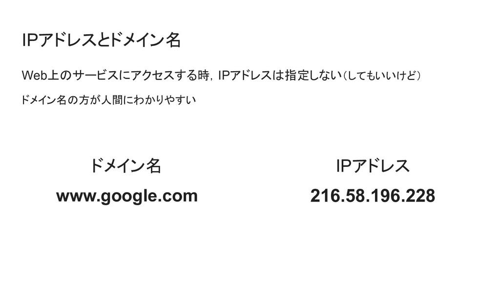 IPアドレスとドメイン名 Web上のサービスにアクセスする時,IPアドレスは指定しない(しても...