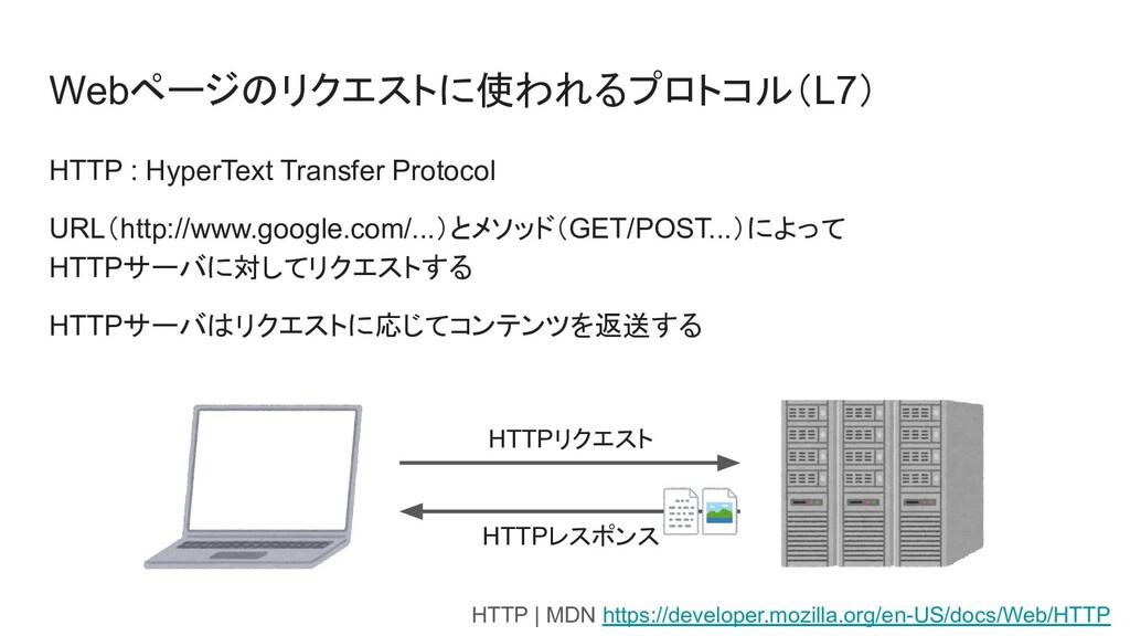Webページのリクエストに使われるプロトコル(L7) HTTP : HyperText Tra...