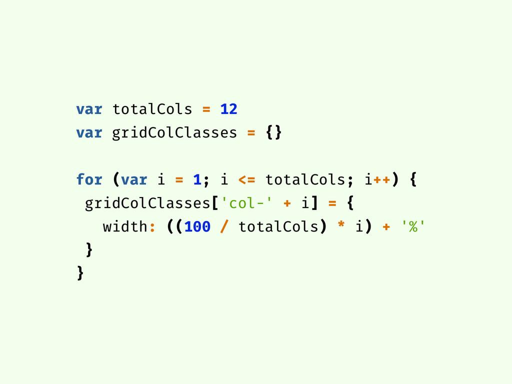 var totalCols = 12 var gridColClasses = {} for ...