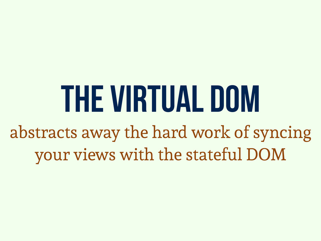 the virtual dom abstracts away the hard work of...