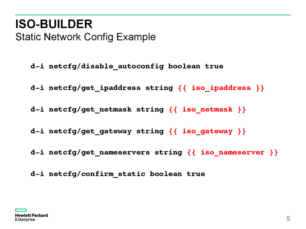 ISO-BUILDER Static Network Config Example d-i n...