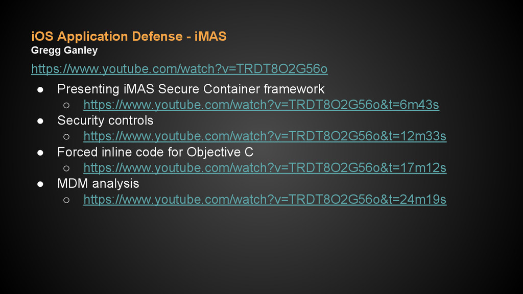 iOS Application Defense - iMAS Gregg Ganley htt...