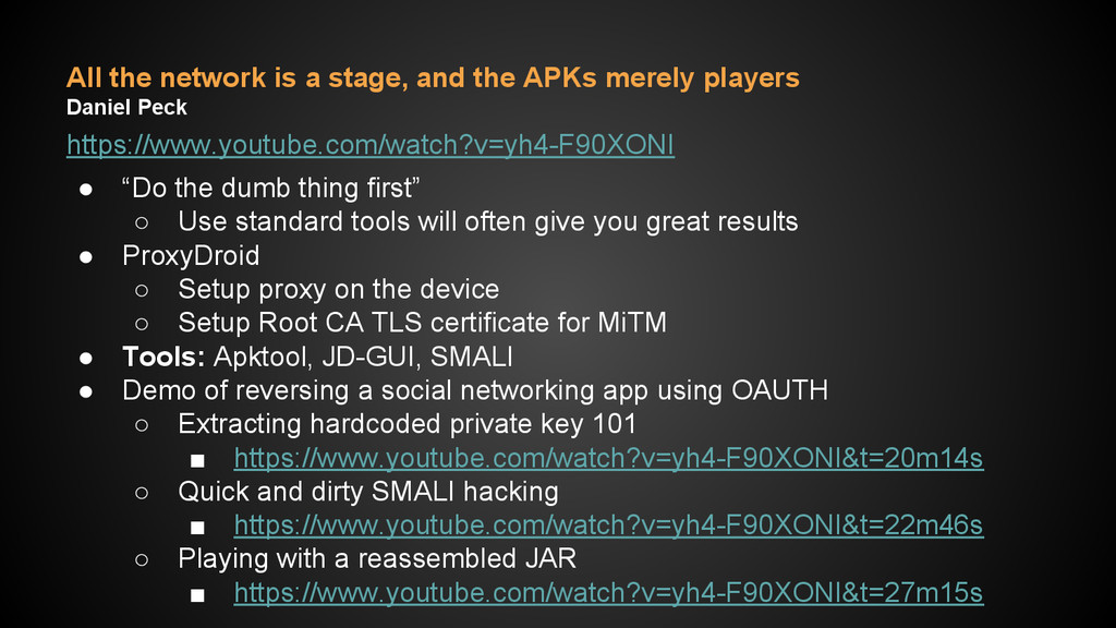 All the network is a stage, and the APKs merely...