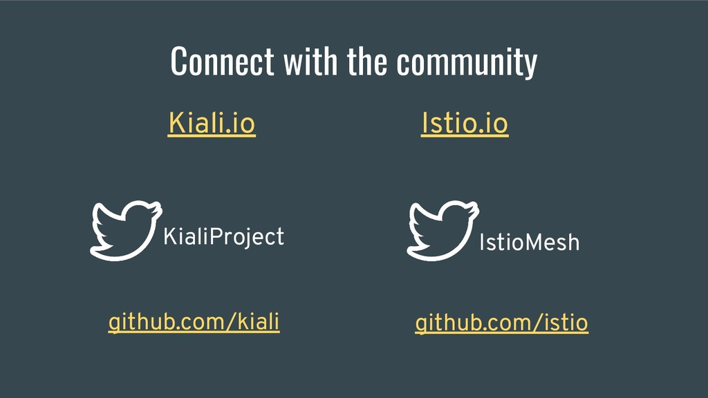 Connect with the community Kiali.io Istio.io Ki...
