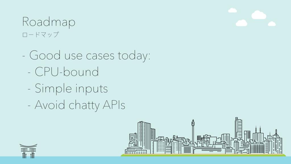Roadmap ϺЄϖϫϐϤ - Good use cases today: - CPU-b...