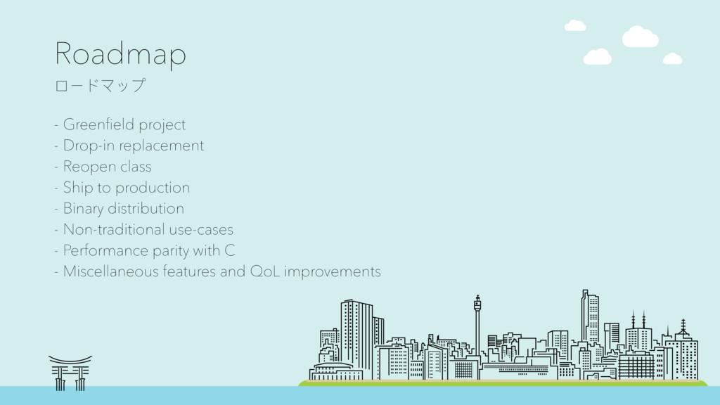 Roadmap ϺЄϖϫϐϤ - Greenfield project - Drop-in r...
