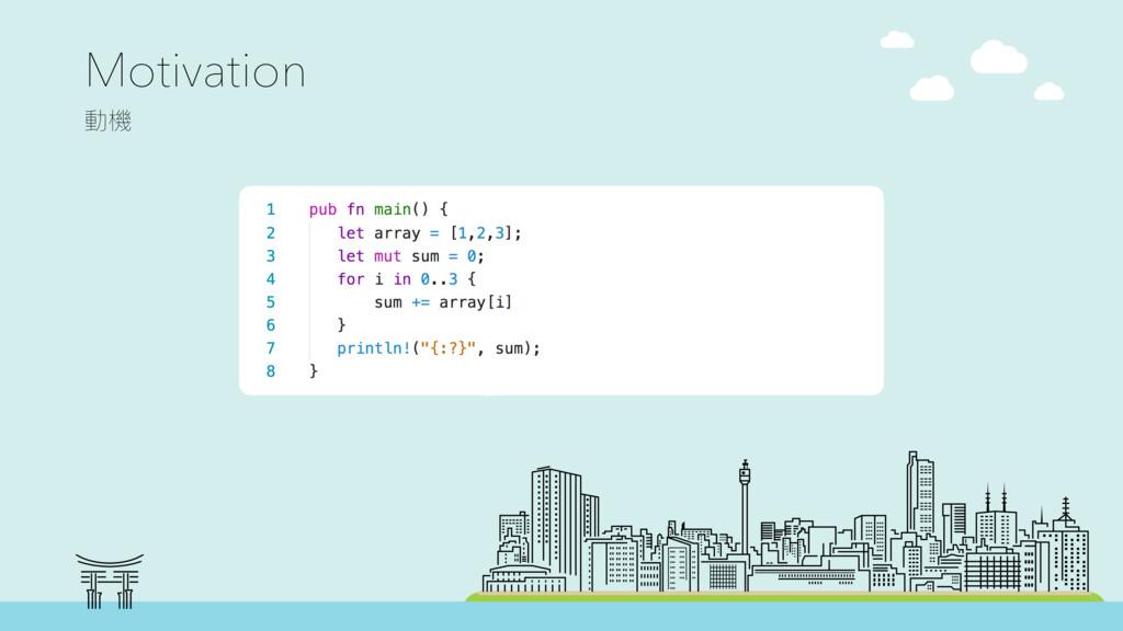 Motivation 㵕䱛 pub fn main() { let array = [1,2...