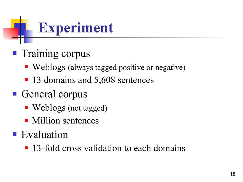 18 Experiment  Training corpus  Weblogs (alwa...