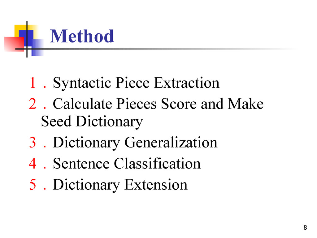8 Method 1.Syntactic Piece Extraction 2.Calcula...