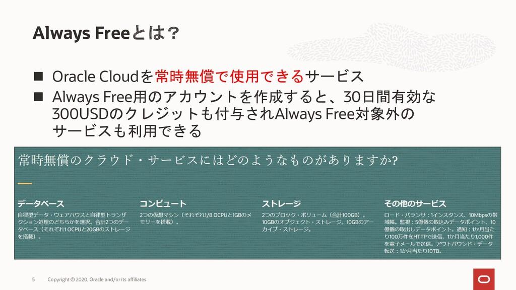 ◼ Oracle Cloudを常時無償で使用できるサービス ◼ Always Free用のアカ...
