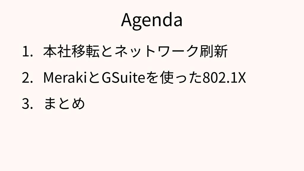 Agenda 1. 本社移転とネットワーク刷新 2. MerakiとGSuiteを使った802...