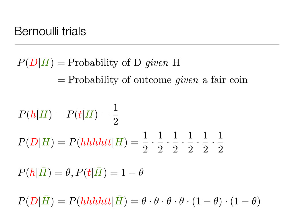 Bernoulli trials P(D|H) = Probability of D give...