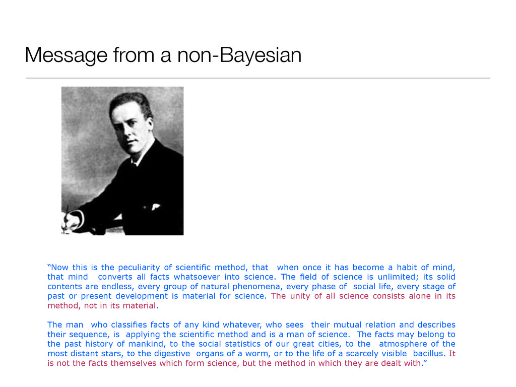 "Message from a non-Bayesian ""Now this is the pe..."
