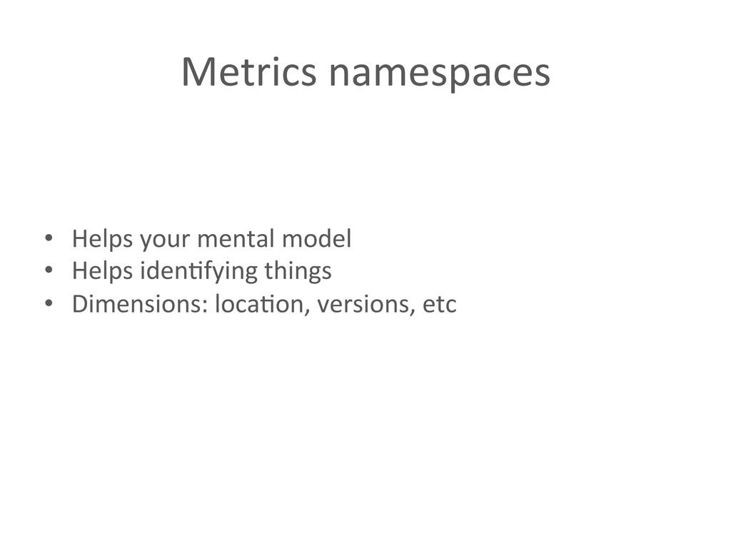 Metrics namespaces  • Helps your m...