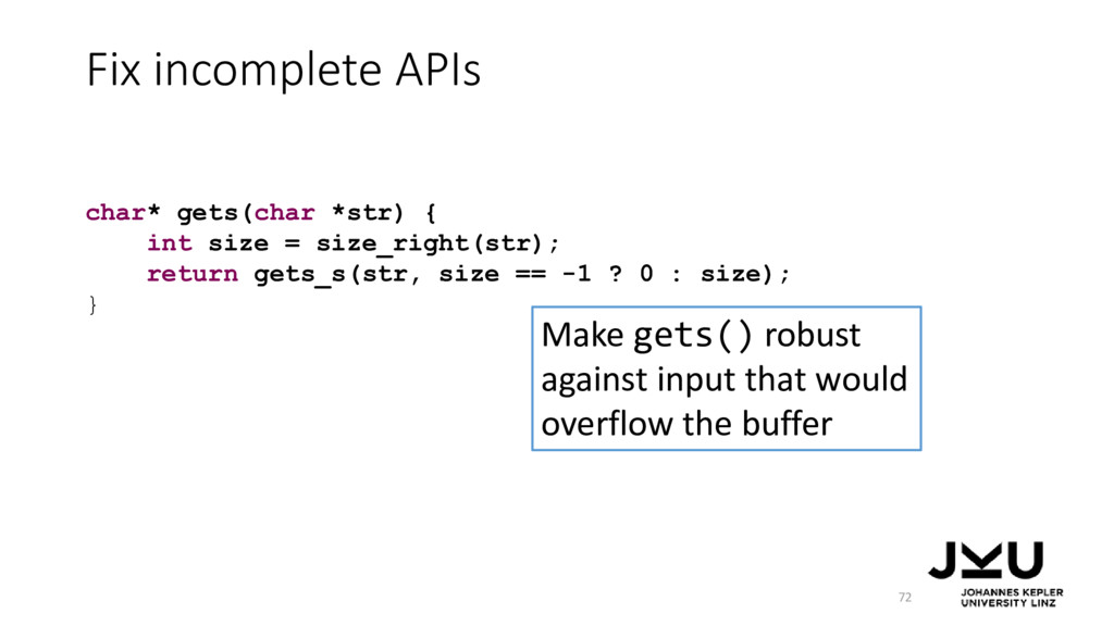 Fix incomplete APIs 72 Make gets() robust again...
