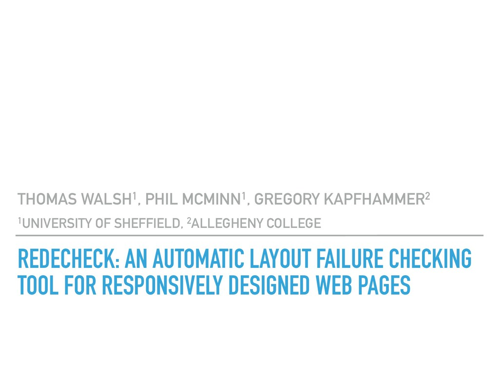 REDECHECK: AN AUTOMATIC LAYOUT FAILURE CHECKING...
