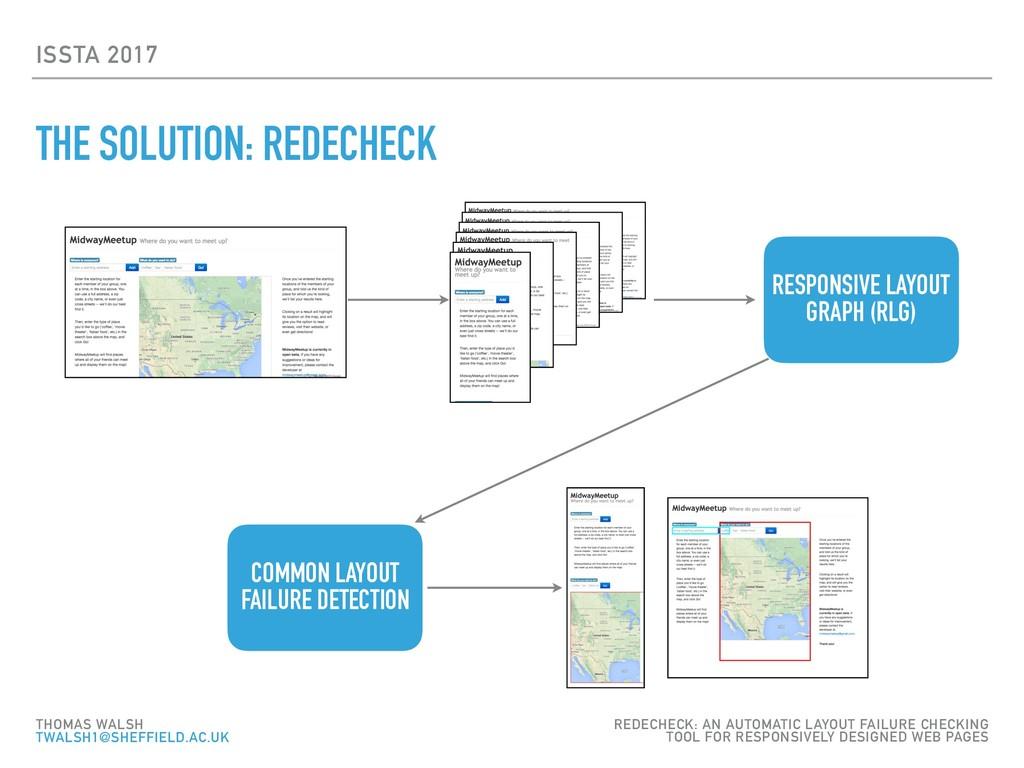 ISSTA 2017 THE SOLUTION: REDECHECK THOMAS WALSH...