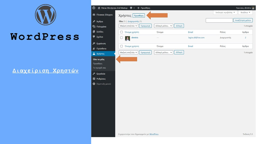 18 WordPress Διαχείριση Χρηστών